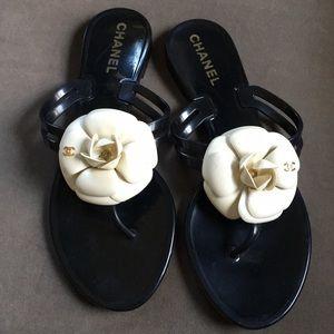 CHANEL Camellia CC Slide Sandals